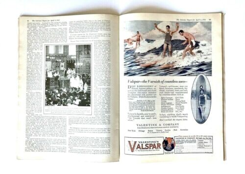 1922 Literary Digest Magazine, Duke Kahanamoku, Valspar Ad, Surfing, Hawaii