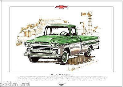 CHEVROLET FLEETSIDE PICKUP - Fine Art Print - A3 size - Classic 1959 Chevy truck