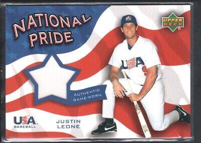 JUSTIN LEONE 2004 UPPER DECK NATIONAL PRIDE #NPPJL GAME JERSEY TEAM USA CREASED