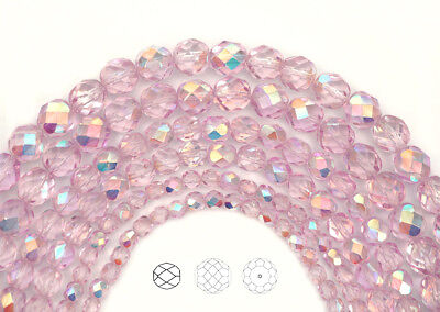 Czech Glass Fire Polished Round Faceted Beads in Crystal Pink Shimmer AB -
