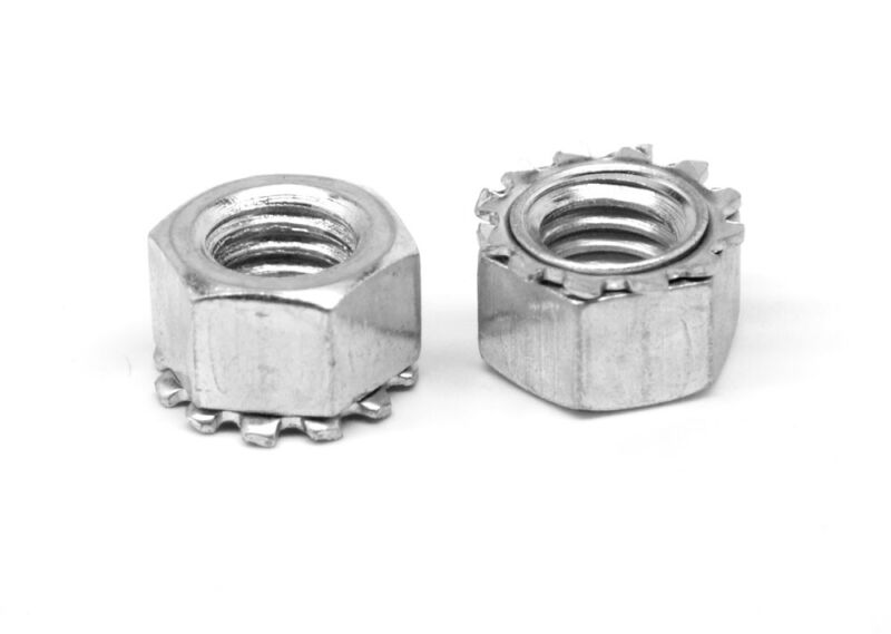 """1/4""""-28 Fine KEPS Nut / Star Nut with Ext Tooth Lockwasher Zinc Plated"""