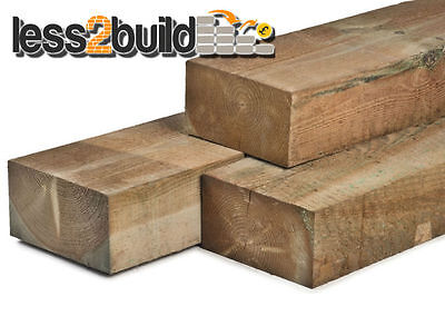 NEW TREATED TIMBER RAILWAY SLEEPERS 240X120 2.4M BROWN TREATED RAISED BEDS
