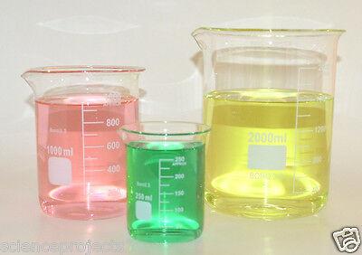 Beaker Set 2000 1000 250 Ml Griffin Graduated Borosilicate Glass Beakers Lab New
