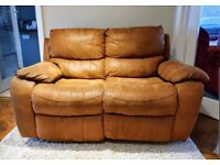Luxurious nubuck suede manual 2 seater recliner sofa DELIVERY INCLUDED