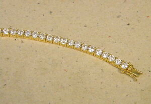 Lady's Women's Yellow Tone Gold Plated Tennis Bracelet 40 CZ's 7.25 Long New