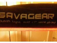Savage gear jerk bait rod and abu bait caster.