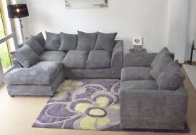 **7-DAY MONEY BACK GUARANTEE!* Desmond Jumbo Cord Corner Sofa or 3 and 2 Sofa Set -QUICK DELIVERY!