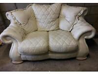 Cream Leather 2 Seater