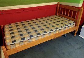 Single pine bed + mattress