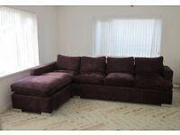 Large L-shape sofa in purple chenille