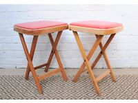 Vintage Pair of Folding Red Stools