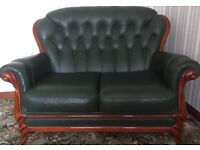 Leather 2seater sofa and 2 chairs immaculate condition