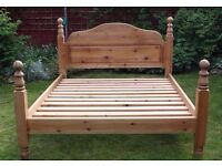 Solid Pine King Size Bed with Two Free Solid Pine Bedside Cabinets and Carvings