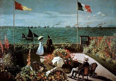 Claude Monet Garden at Sainte-Adresse 1867 Impressionist Oil On Canvas Painting  Claude Monet Impressionist Canvas