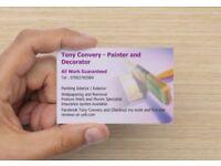 Tony Convery - Painter and Decorator - All Work Guaranteed - Tel 07902782969