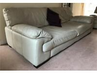 DFS Sofa - VASARI - 4 Seater Natural Leather Sofa + Matching Large Chair FREE TO COLLECTOR