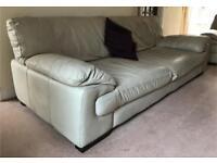DFS Sofa - VASARI - 4 Seater Natural Leather Sofa + Matching Large Chair