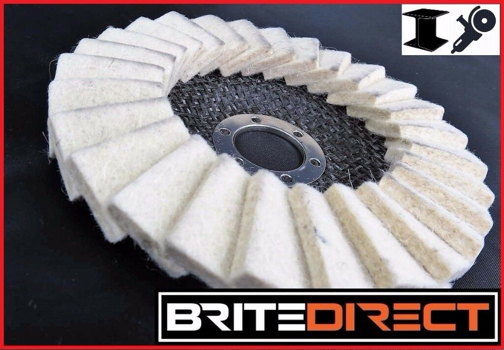Pack of 10 Flap Felt Disc 125 5 Polishing Angle Grinder Buffing Wheel Metal Alloy Brite Direct Ltd.