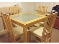 SOLID WOOD / GLASS 4 SEATER SQUARE DINING TABLE + 4 CHAIRS COLLECTION ONLY