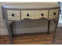 """Vintage Victorian Oval Shabby Chic Dressing Table / Desk in Annie Sloan """"French Linen"""" Chalk Paint"""
