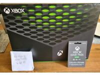 Xbox Series X -in hand, Brand New and Unsealed. Includes 3months games pass