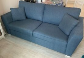 'Argos Home Renley 3 Seater Fabric Sofa - Blue' on sale