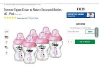 Tommee tippee bottles (pink coloured)