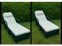 Pair of Rattan Garden Furniture Sunlounger on wheels Sun Loungers Day Beds