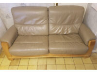 3 Seater Sofa And Chair Brown Leather With Lovely Feature Wood Frame. Delivery is possible