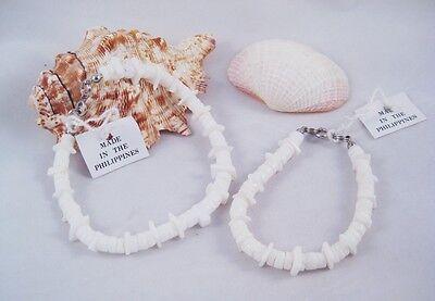 Set White Anklet - One Brand New Chipped White Puka Shell Anklet & Bracelet Set #S1068