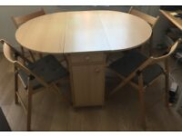 Dining drop leaf table with 4 foldable chairs including Ikea paddings