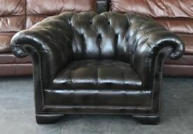 Full Button Brown Leather Chesterfield Armchair.Can Deliver