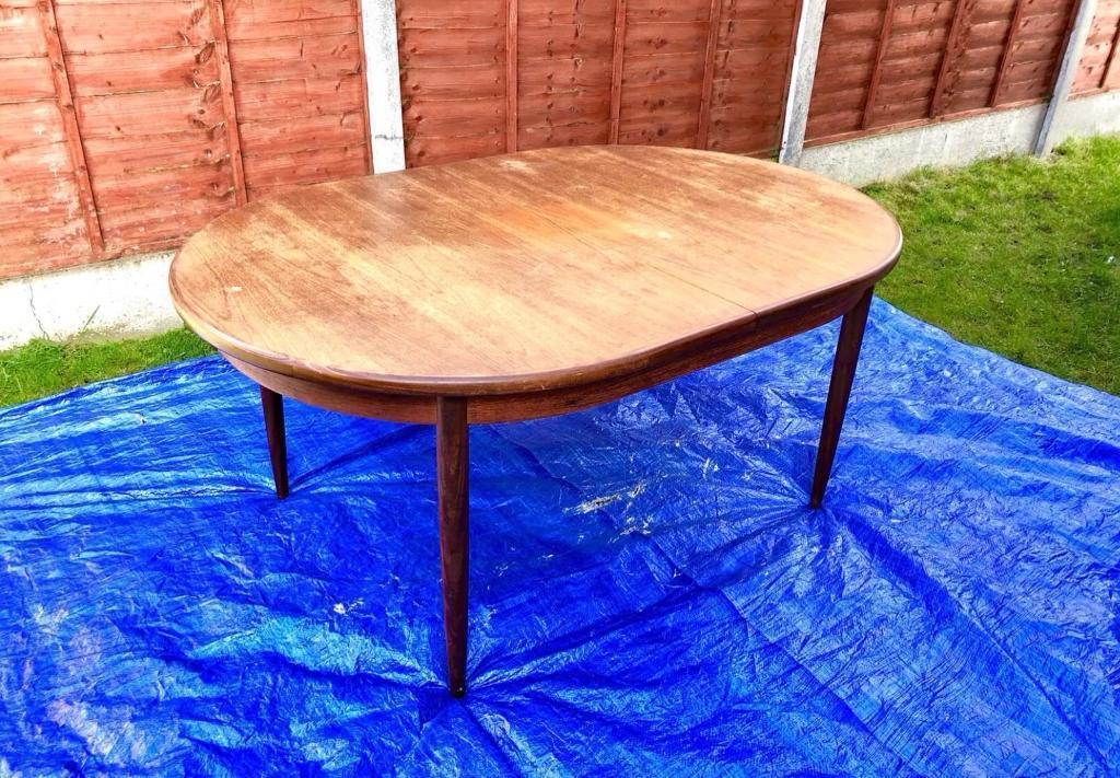 VINTAGE S G Plan Fresco Teak Oval Extending Dining Table In - Teak oval extending table