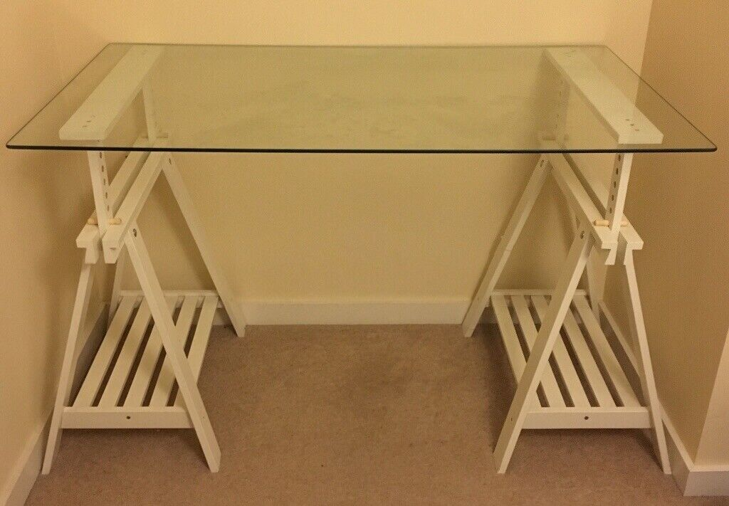 Glass desk top with ikea finnvard trestle legs in glenrothes