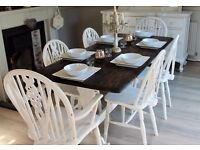 shabby chic rustic country farmhouse table and 6 chairs
