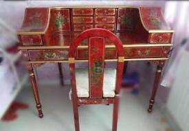 Chinese/Oriental Red Lacquered Bird And Flower House Desk/Dressing Table & Chair