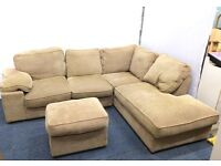 Large Brown Corner Sofa With Matching Footstool