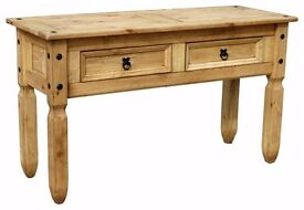 Waxed Pine Console Table.