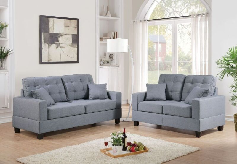 Gray Polyfiber Sofa Set Sofa Couch & Loveseat Living Room Tufted Sofa Furniture