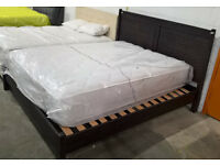 Ex-display John Lewis Super King Size Walnut Wooden Bed. 180 x 200 cm.