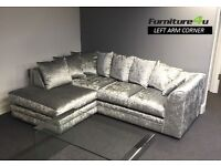 * 14 DAYS CASH ON DELIVERY * Brand New Large -ITALIAN Style Orignal Crush Velvet Sofas + QUICK DROP