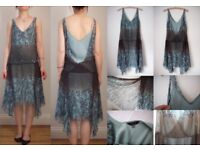 COAST Silk Event Cocktail Party Dress 1920s Flapper Prom 8 36 NEW £130