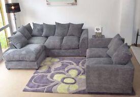 14-DAY MONEY BACK GUARANTEE!* Desmond Jumbo Cord Corner Sofa or 3 and 2 Sofa Set -SAME DAY DELIVERY