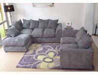**7-DAY MONEY BACK GUARANTEE!* Desmond Jumbo Cord Corner Sofa or 3 and 2 Sofa Set -SAME DAY DELIVERY