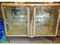 Vintage retro glass display cabinet 50s 60s 70s mid century kitsch bar book case shabby chic