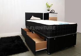 """BRAND NEW DIVAN BED WITH LUXURY ORTHOPAEDIC/MEMORY FOAM 10"""" MATTRESS IN ALL SIZES! SUPER DEAL!"""
