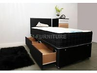 "BRAND NEW DIVAN BED WITH LUXURY ORTHOPAEDIC/MEMORY FOAM 10"" MATTRESS IN ALL SIZES! SUPER DEAL!"
