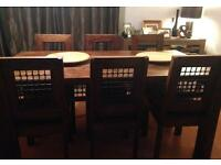 Hardwood Dining Table with 8 Chairs & cushions