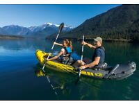 Intex Explorer K2 Two-Person Kayak + oars + pump + 2 Typhoon Yalu Wave Life jackets