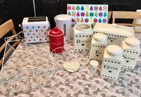 Kitchen Items - Toaster Kettle Bread Bin Tea Coffee Sugar Biscuits Tin Chopping Board Fruit Bowl